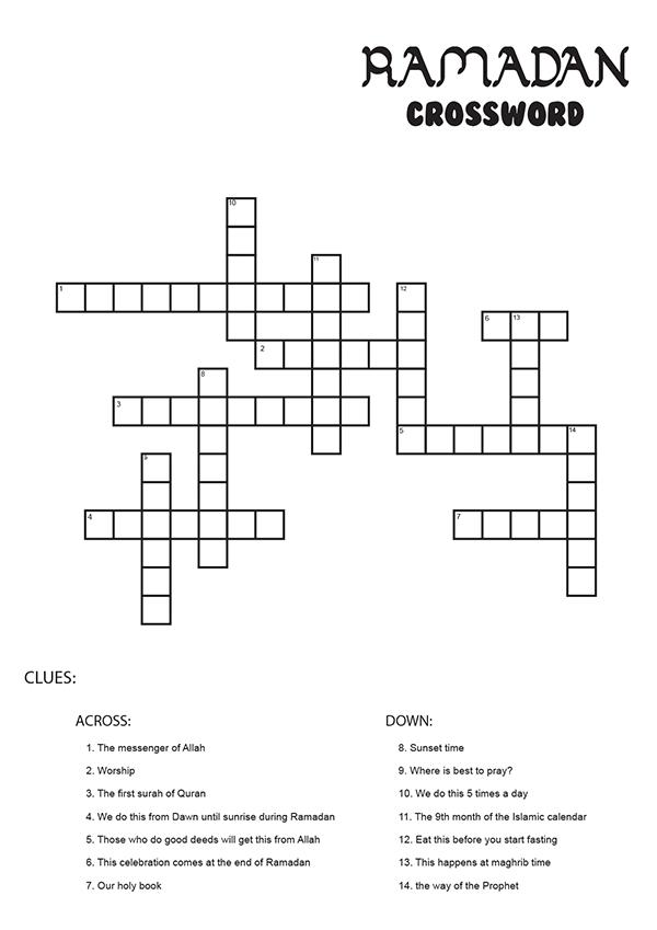 Ramadan Maze and Crossword Printable Activities | Kids printable ...