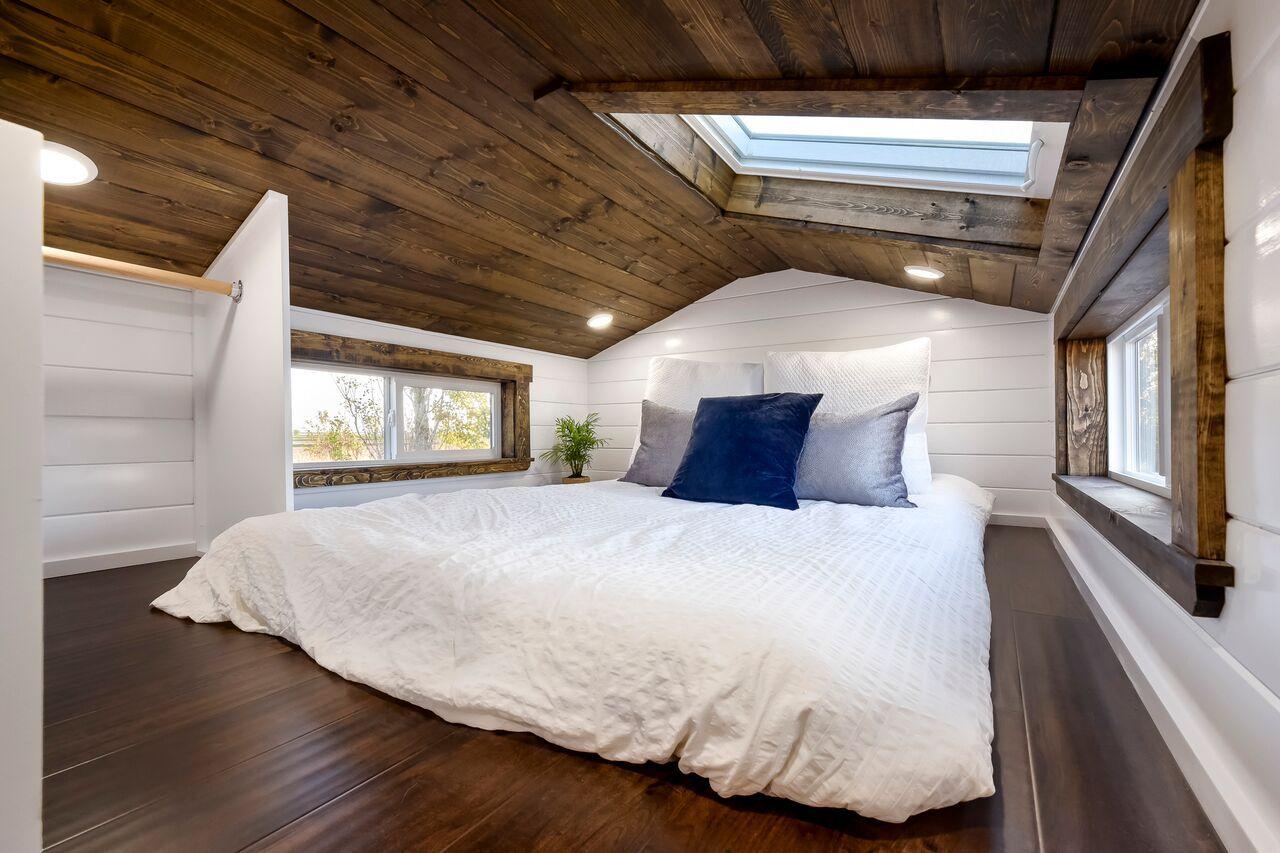 Loft bedroom privacy ideas  ft Dark Wood Tiny House  Tiny Homes  Pinterest  Dark wood Tiny