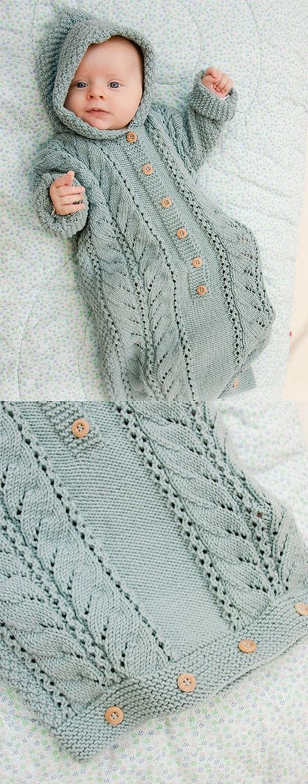 Free Knitting Pattern for Cable Snooze Baby Sleeping Bag -