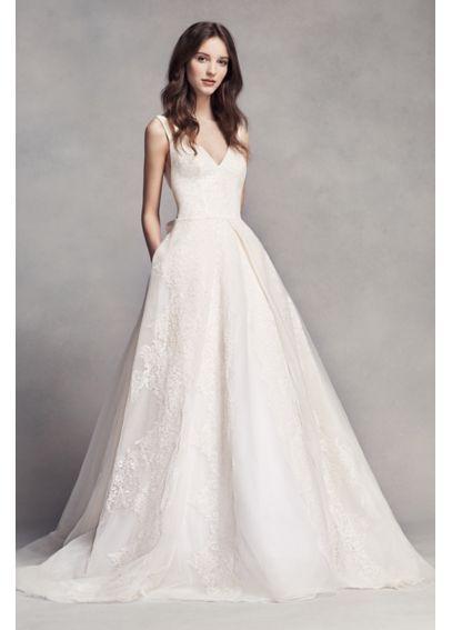 048cc4b53b White by Vera Wang Pleated V-Neck Wedding Dress VW351318