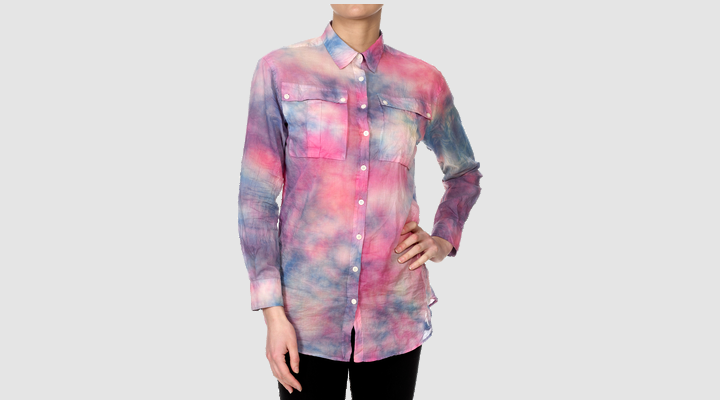 Reminds me of cotton candy. Long sleeved tie dye voile shirt by Dr. Marten.