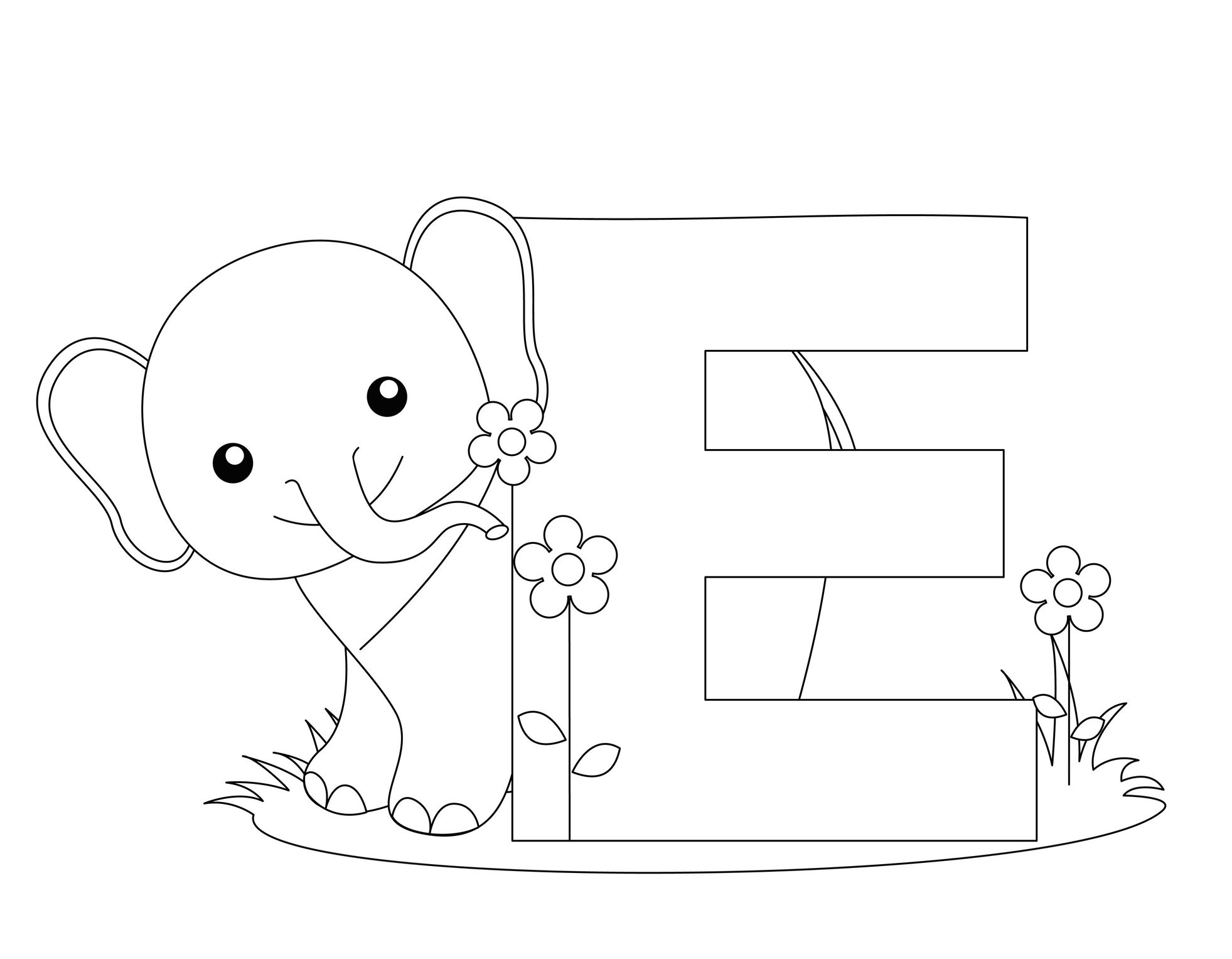 Letter E Coloring Pages Abc Coloring Pages Elephant Coloring