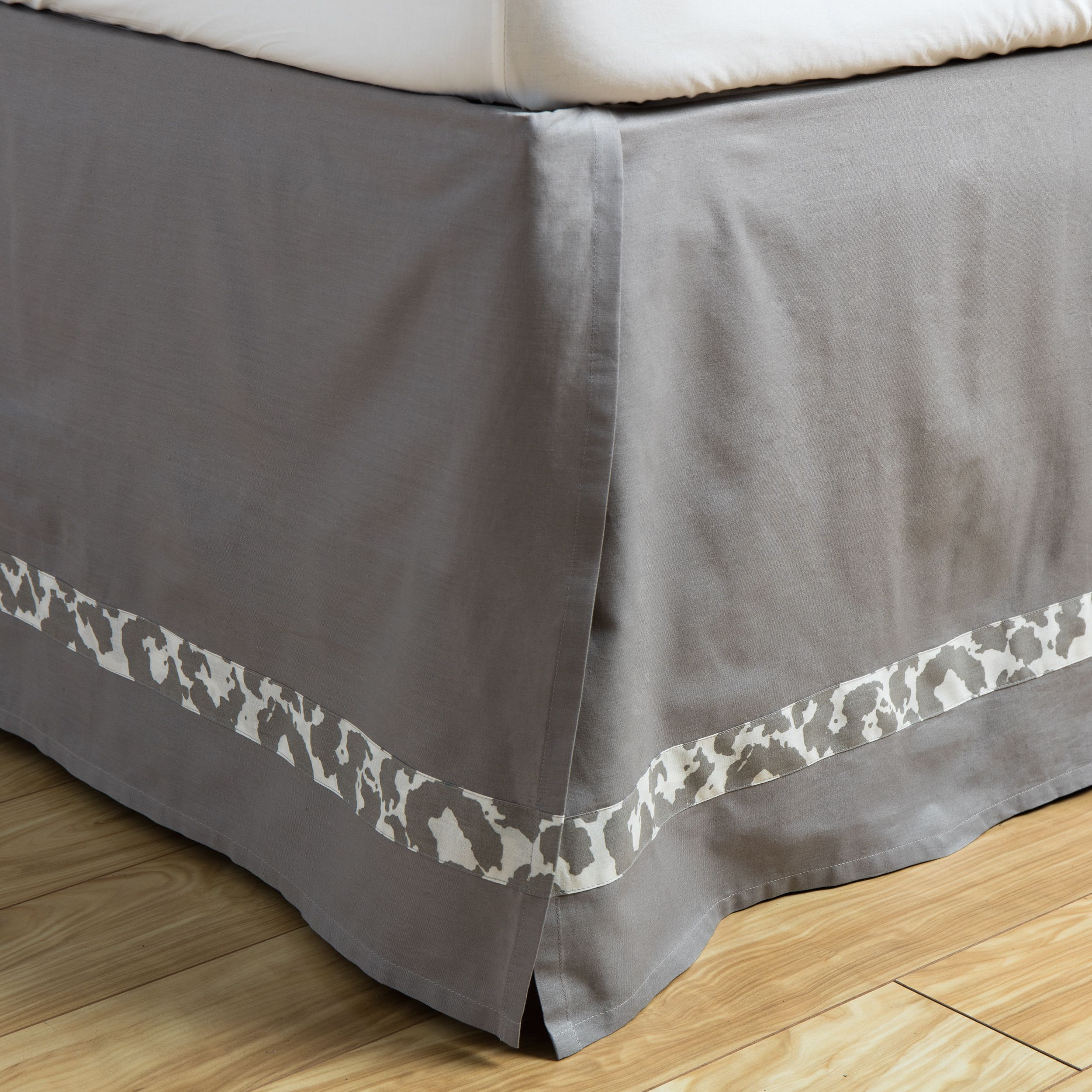 andrew charles snow leopard collection grey cotton bed skirt king