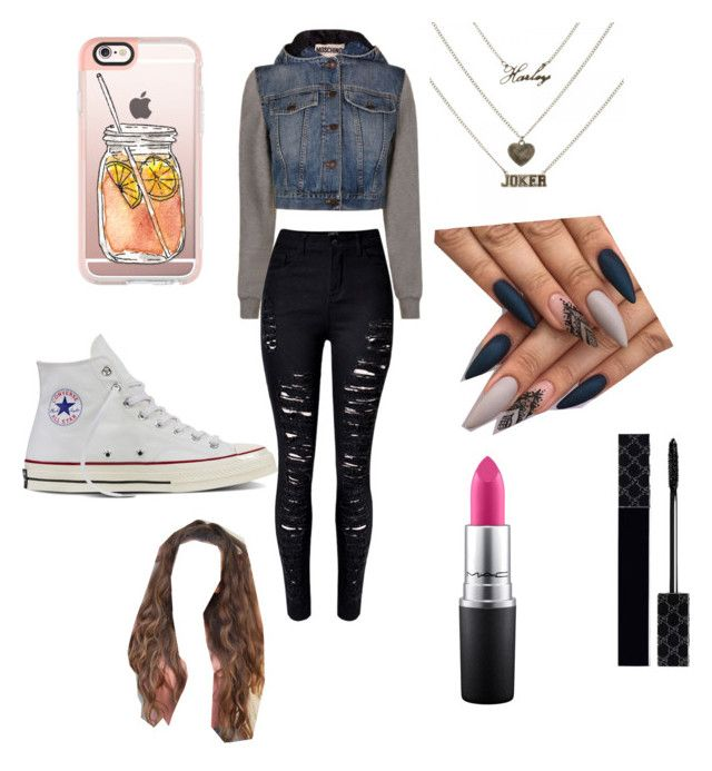 """""""Untitled #63"""" by gisselleotero on Polyvore featuring Casetify, Moschino, Converse, Gucci and MAC Cosmetics"""