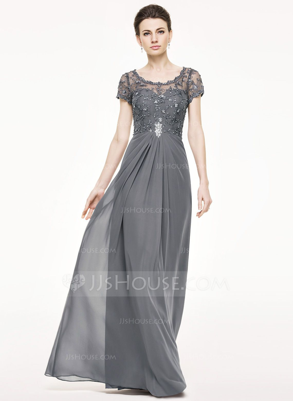 633ded41d90 A-Line Princess Scoop Neck Floor-Length Chiffon Lace Mother of the Bride  Dress With Ruffle Beading Sequins (008062532) - JJsHouse