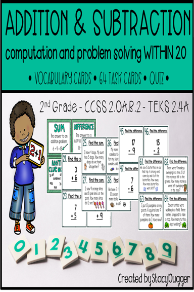 Addition and Subtraction within 20 Task Cards | Math groups, Guided ...
