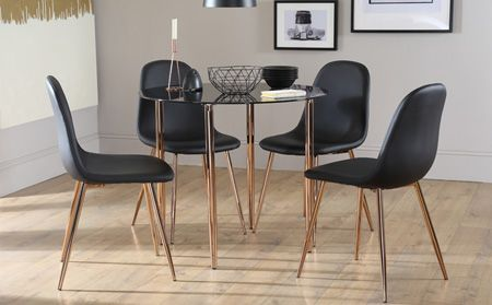 Horizon Round Black Glass Dining Table With 4 Brooklyn Chairs Copper Legs