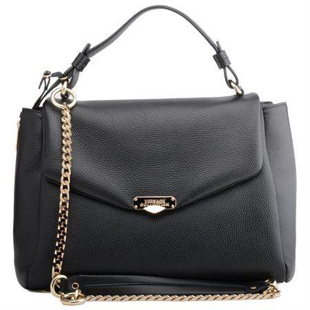Versace Calf Elk Handbag In Black Light Gold