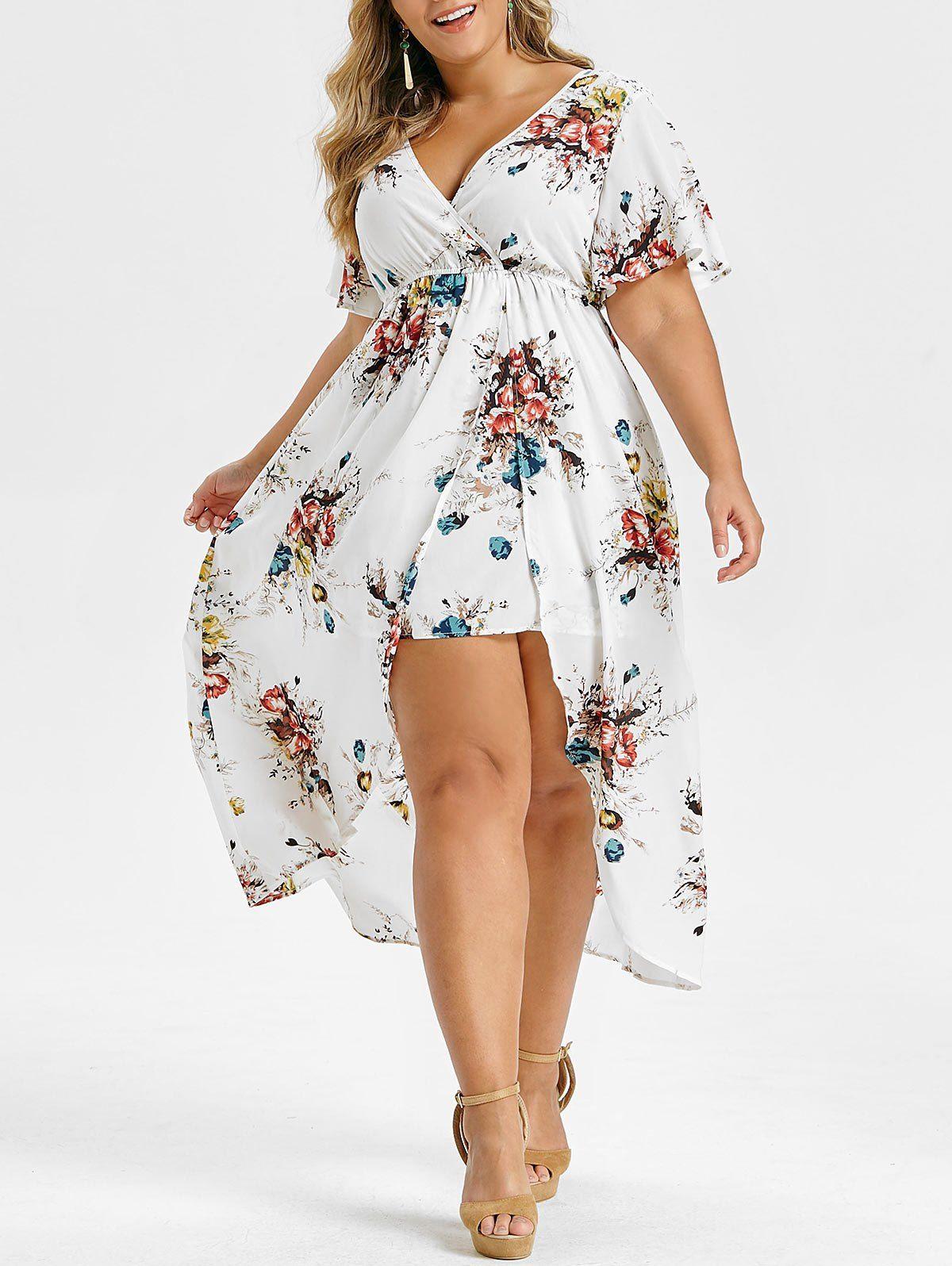 Plus Size Handkerchief Ruffled Floral Print Tank Top In 2021 High Low Maxi Dress Maxi Dress Plus Size Dresses [ 1596 x 1200 Pixel ]