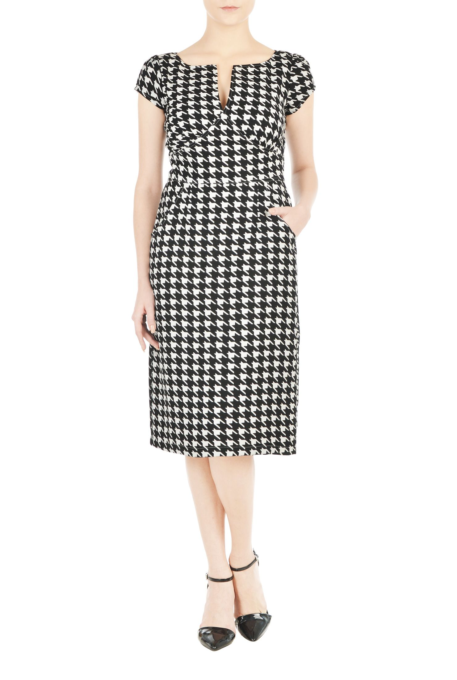 a585dee83f43d9 Make a flirty statement in our houndstooth check print dress styled with a  split-neck