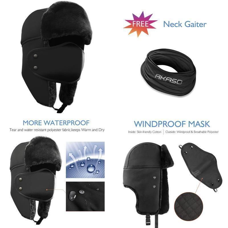 084869f85cc Akaso Winter Hat With Ear Flaps Trooper Trapper Hat Detachable Face Mask  Wind  fashion