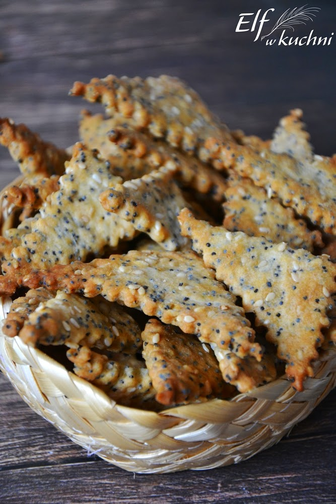 Elf W Kuchni Pelnoziarniste Krakersy Z Makiem I Sezamem Recipes Gourmet Appetizers Workout Food