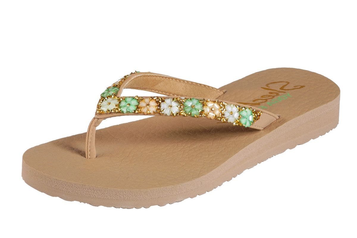1fc71d5b9e8c Skechers Meditation Daisy Delight Dark Natural Flower Comfort Flip Flops  Sandals