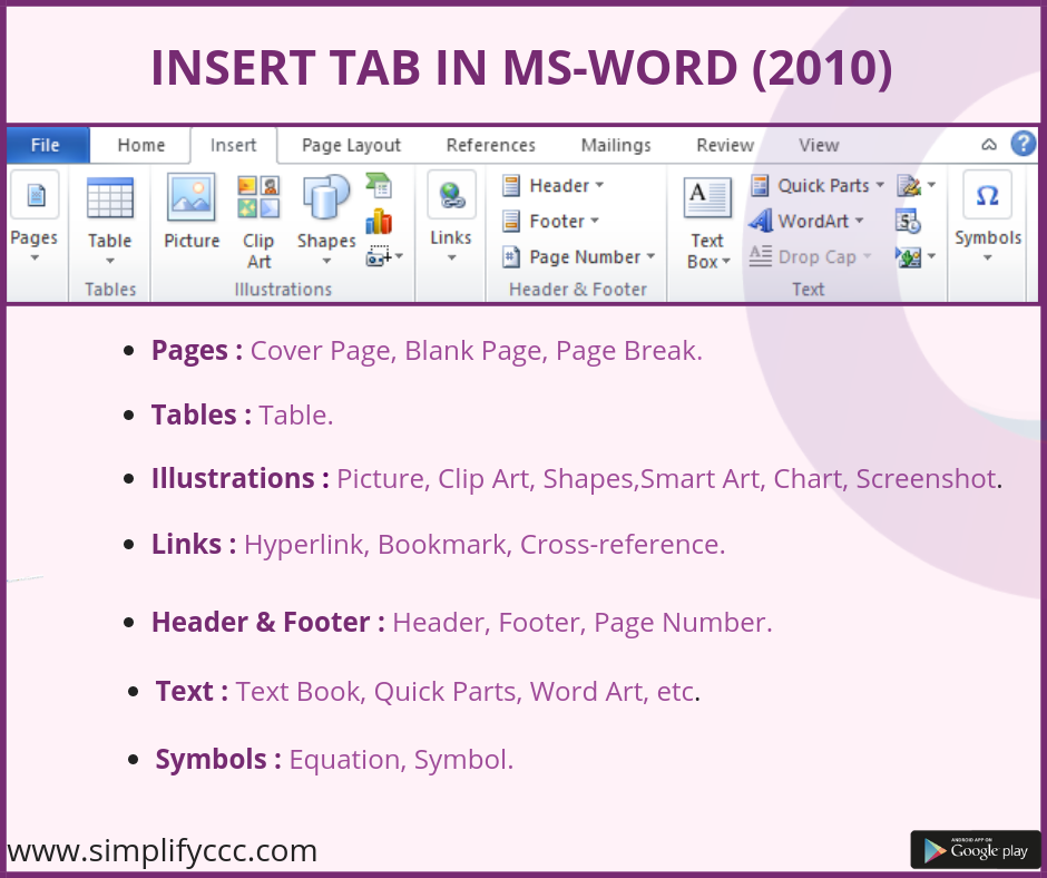 Insert Tab In MS-Word (2010) #CCC #SimplifyCCC #NIELIT