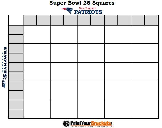 Printable Super Bowl Squares 25 Grid Office Pool Nfl
