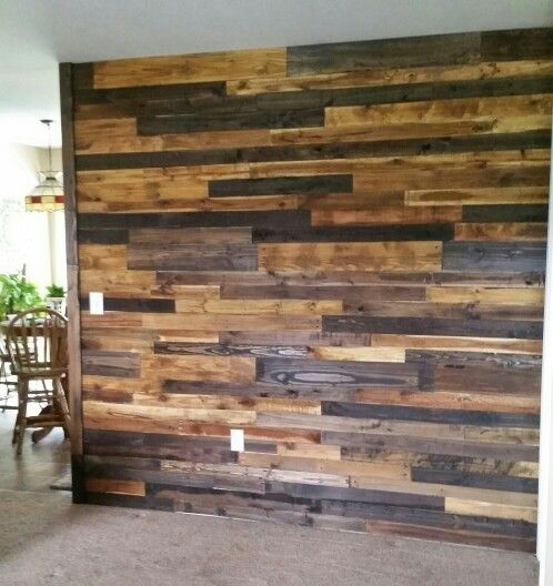 Pallet Board Wall Using Only 2 Different Stains Oak And Espresso Diy Pallet Wall Pallet Wall Decor Pallet Walls