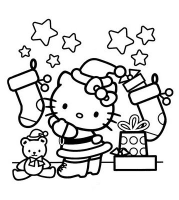 HELLO KITTY CHRISTMAS COLORING SHEETS | Målarbok, Skola, Jul
