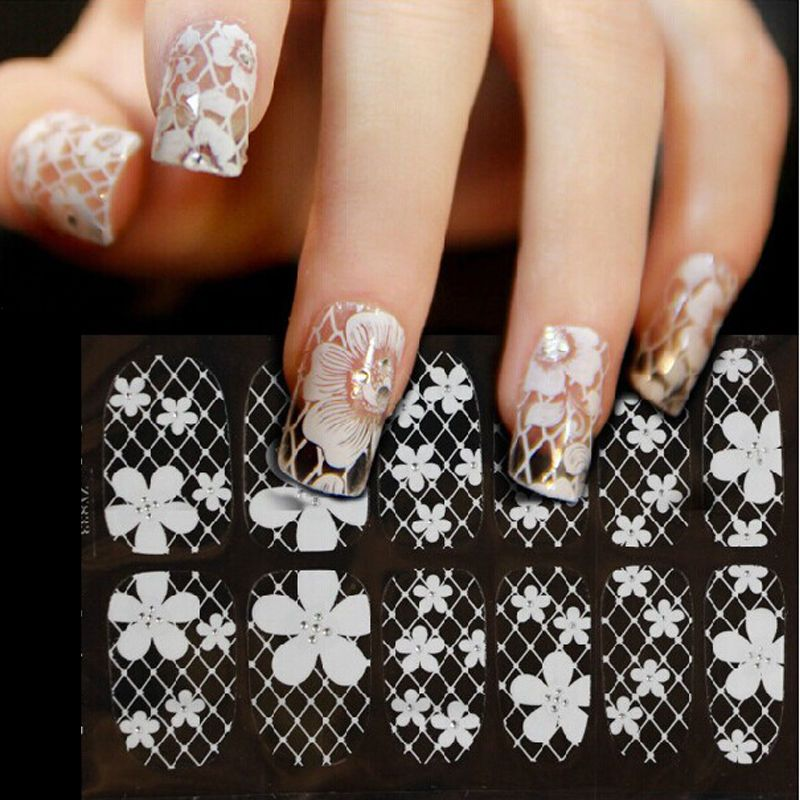 10 Style Adhesive Crystal Flower 3D Lace Nail Art Sticker Decal Full ...