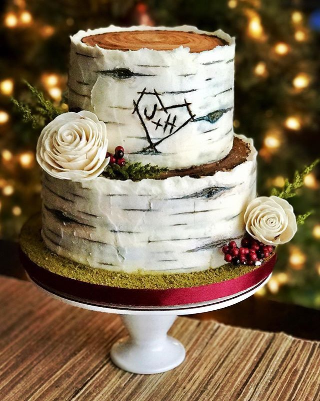Birch Tree Wedding Cake I Used A Crusting Buttercream To Make This