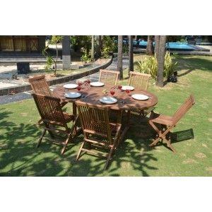 Salon de jardin en teck 6 chaises modèle Heraklion avec une table ...