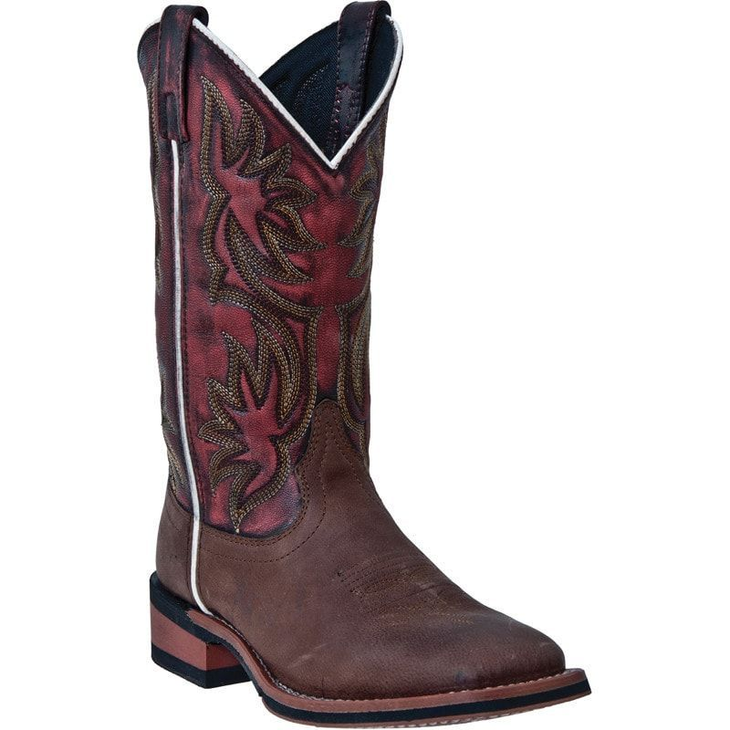 Laredo Womens Brown Dark Leather Gorge 11in Broad Square Toe Cowboy Boots