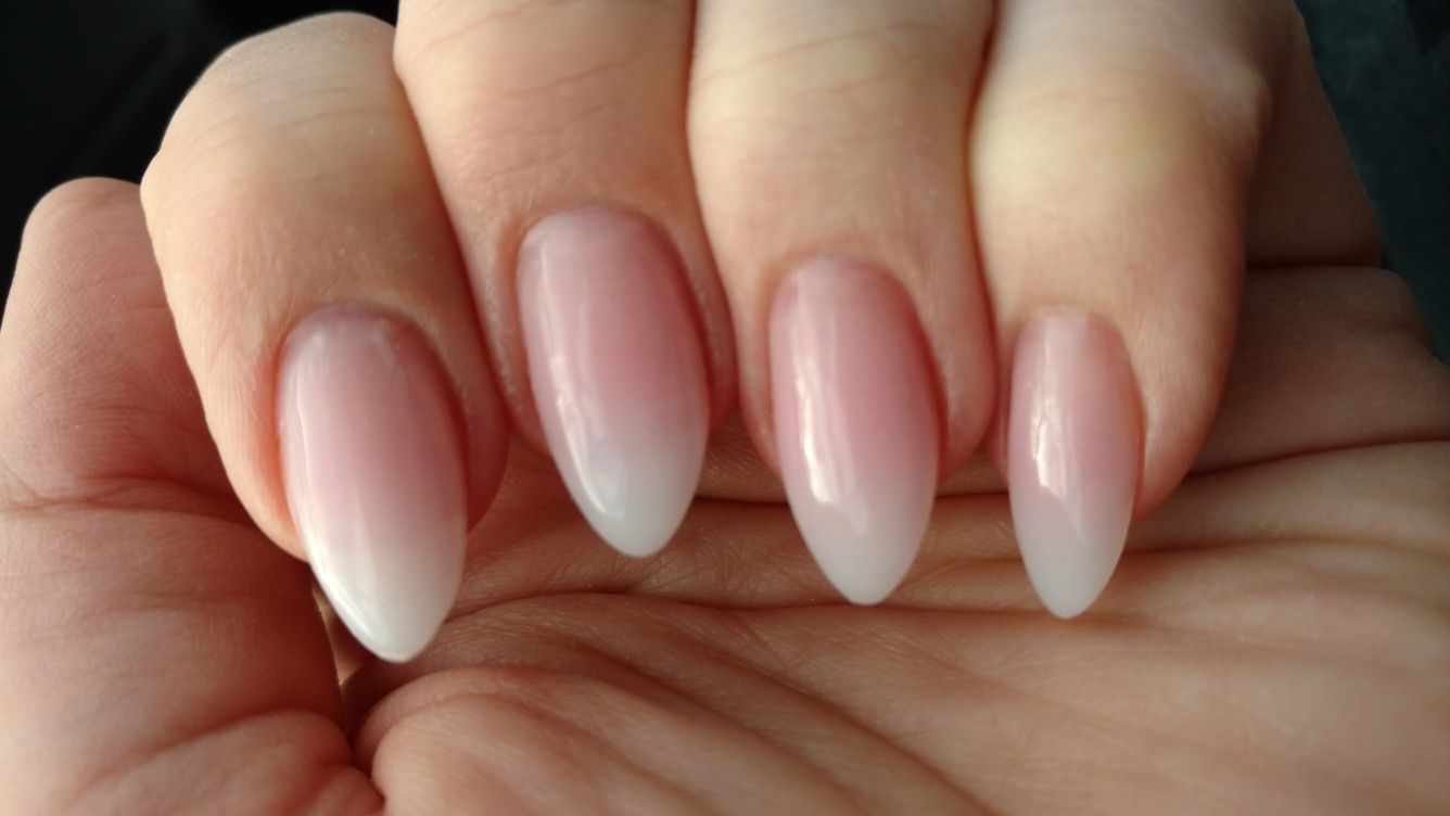 Pink And White Ombre Powder Almond Shaped Nails Almond Nails Pink Ombre Acrylic Nails White Acrylic Nails