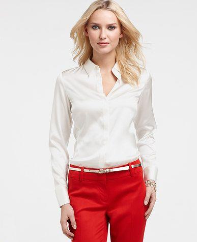 38d5efa496dd3d Petite Silk Charmeuse Long Sleeve Legacy Blouse | *Ann Taylor* in ...
