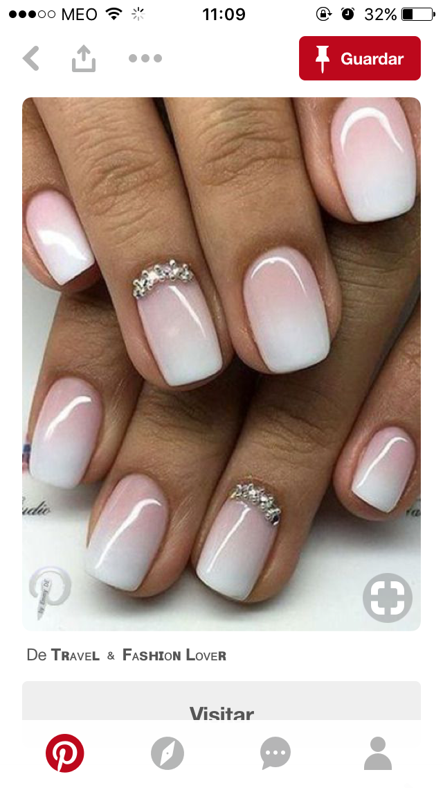 Dream wedding nails! French ombre with stones | Nails | Pinterest ...