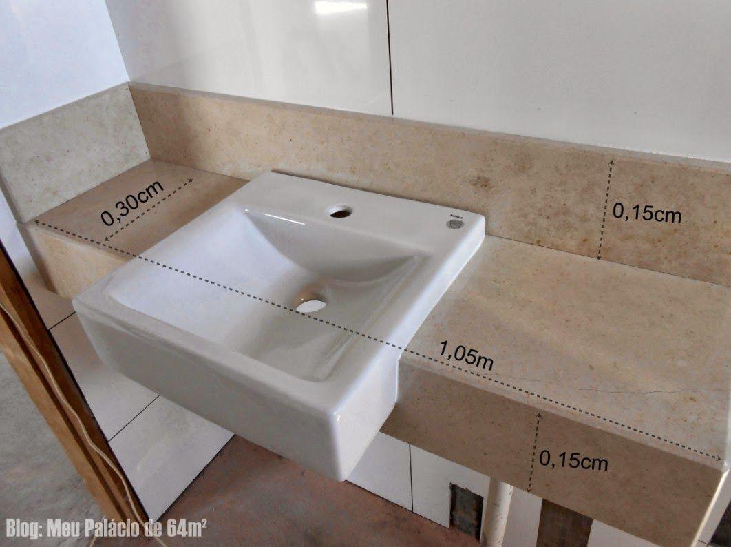 Medidas bancada do banheiro, cuba semi encaixe  Arq Banheiros  Pinterest   -> Tamanho De Uma Cuba Para Banheiro
