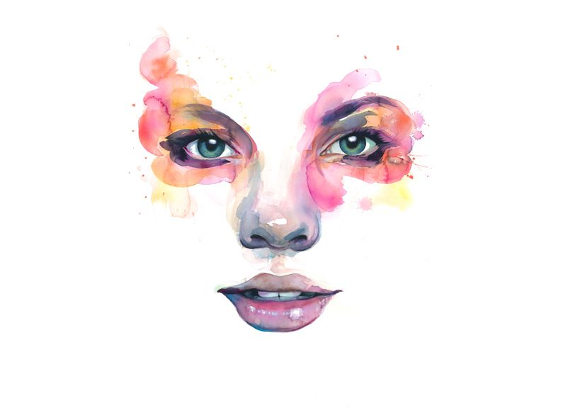 Lillpsycho Aquarell Kunst Kunst Aquarell Aquarell Gesicht