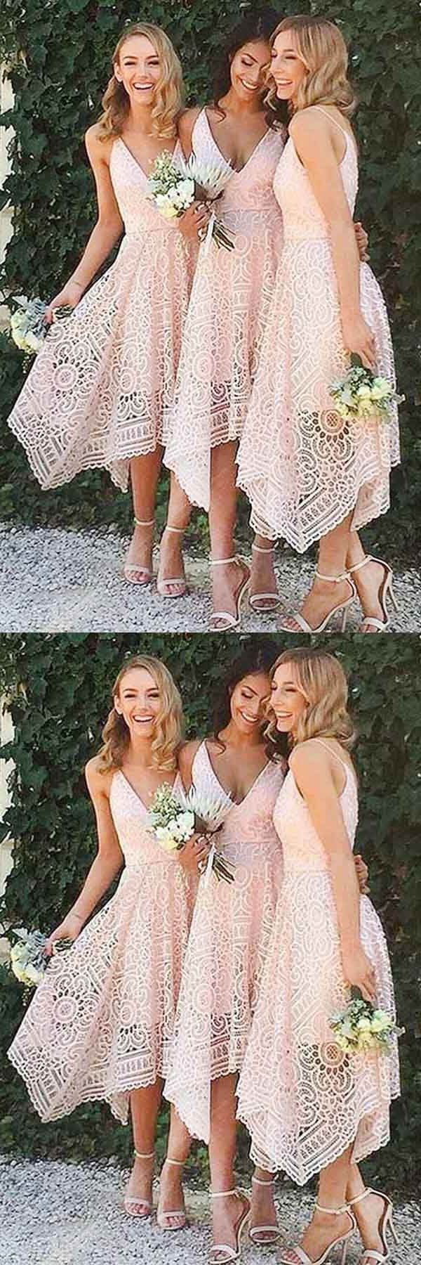 Customized magnificent lace prom dresses aline vneck pearl pink