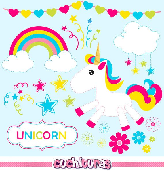 Unicorn Clipart Commercial Use Unicorns Vector Graphics Rainbow