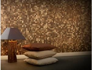 "Coconut wall tiles are beautiful and functional ""Handmade"" mosaic tiles. they are sustainable building materials made from coconut shell, recycled timber and bark. These environmentally friendly wall tile panels are lightweight, durable and very best in green building and decoration concepts."