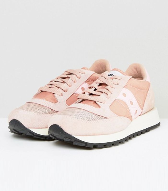 Pink sneaker trend: Saucony Jazz O Vintage Trainers In Pink