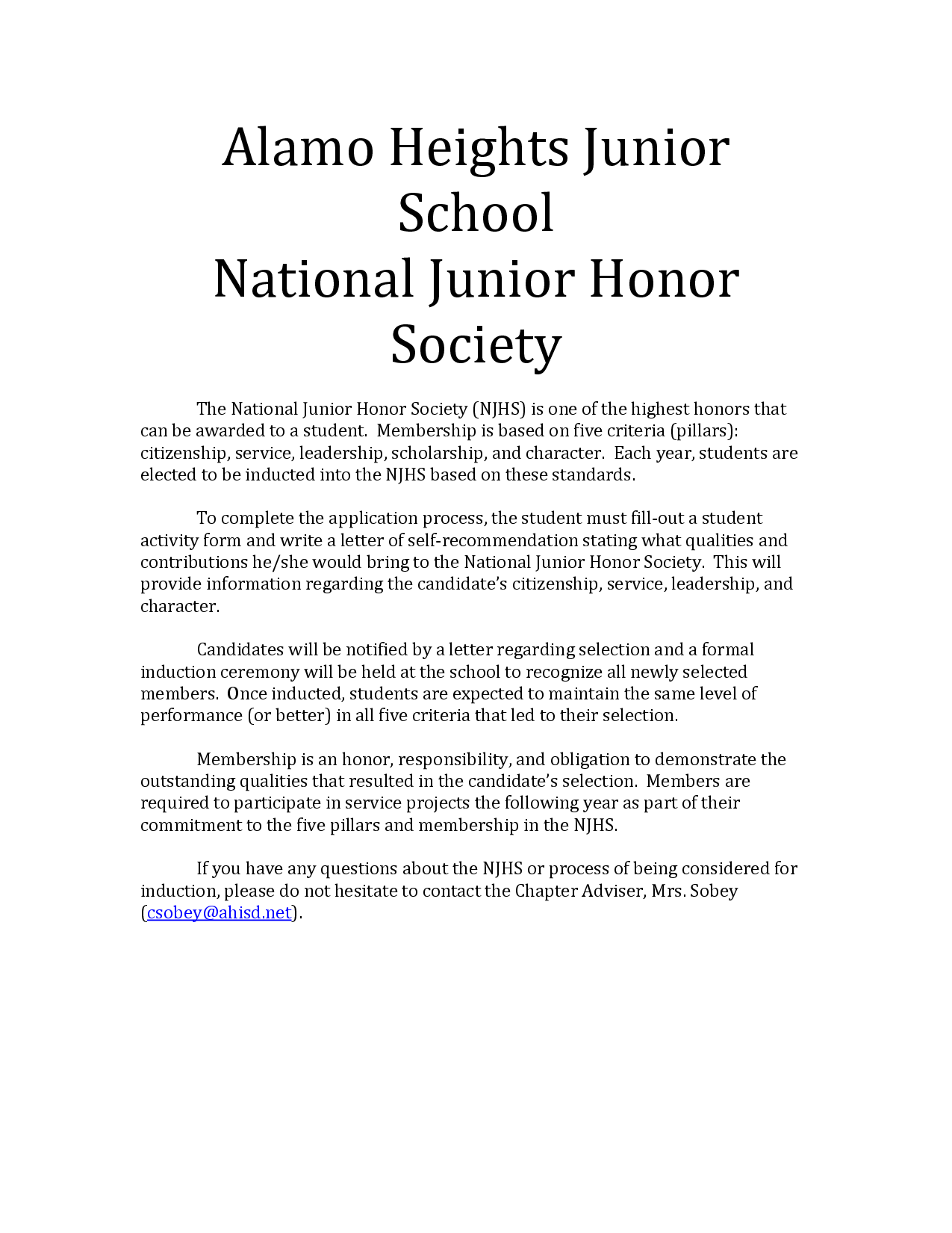 national honor society cover letter