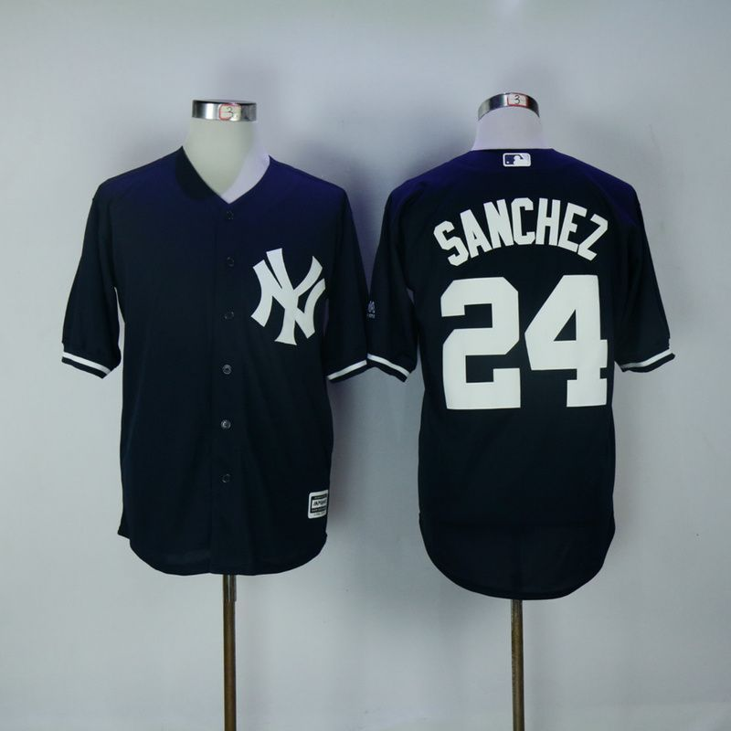 2017 MLB New York Yankees 24 Gary Sanchez Blue Game Jerseys b80934f65