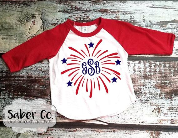 Personalized Fireworks Infant Raglan T Shirt Fourth