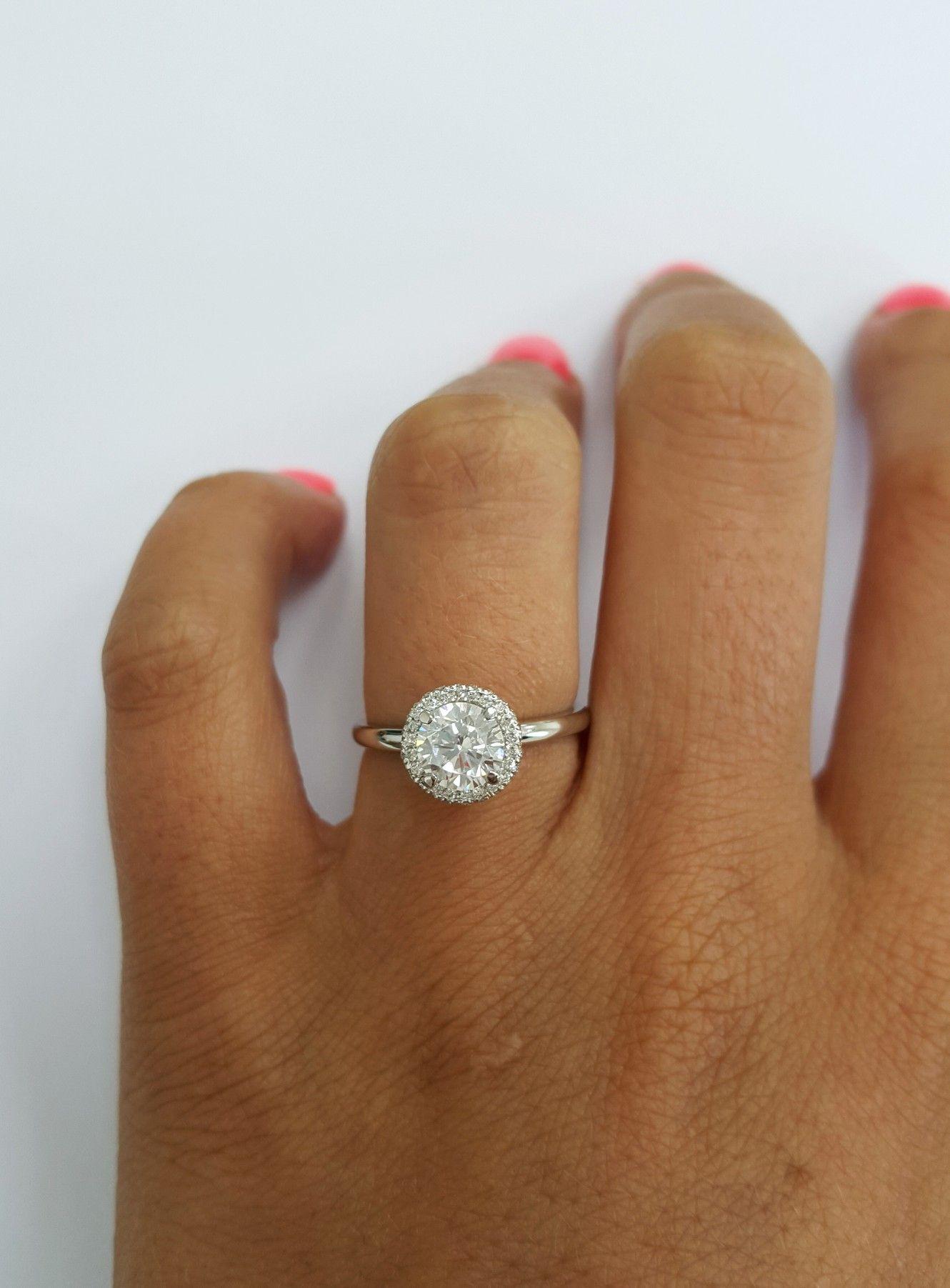 1 carat round diamond halo engagement ring  af8d97e42f