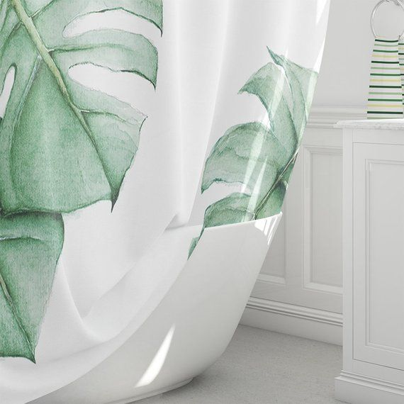 Tropical Shower Curtain watercolor Green Palm Leaves green