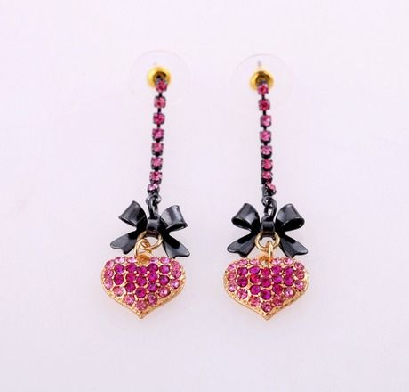 Betsey Johnson Perfectly Pave Pink Crystal Heart Earrings - Free Shipping $20.00