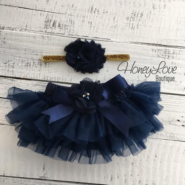 f92d61728 SET Navy Blue tutu skirt ruffle bloomers diaper cover