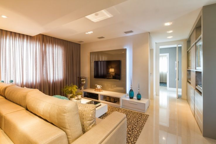 Modern Living Room, Fireplace, Furniture, Sleek Marble Floor Nice Part 74