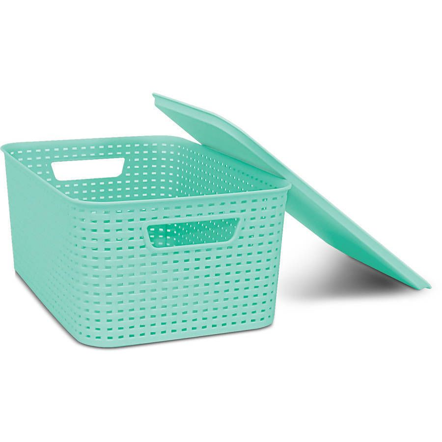 Homz Plastic Wicker Storage Boxes with Lid, Small, 11\
