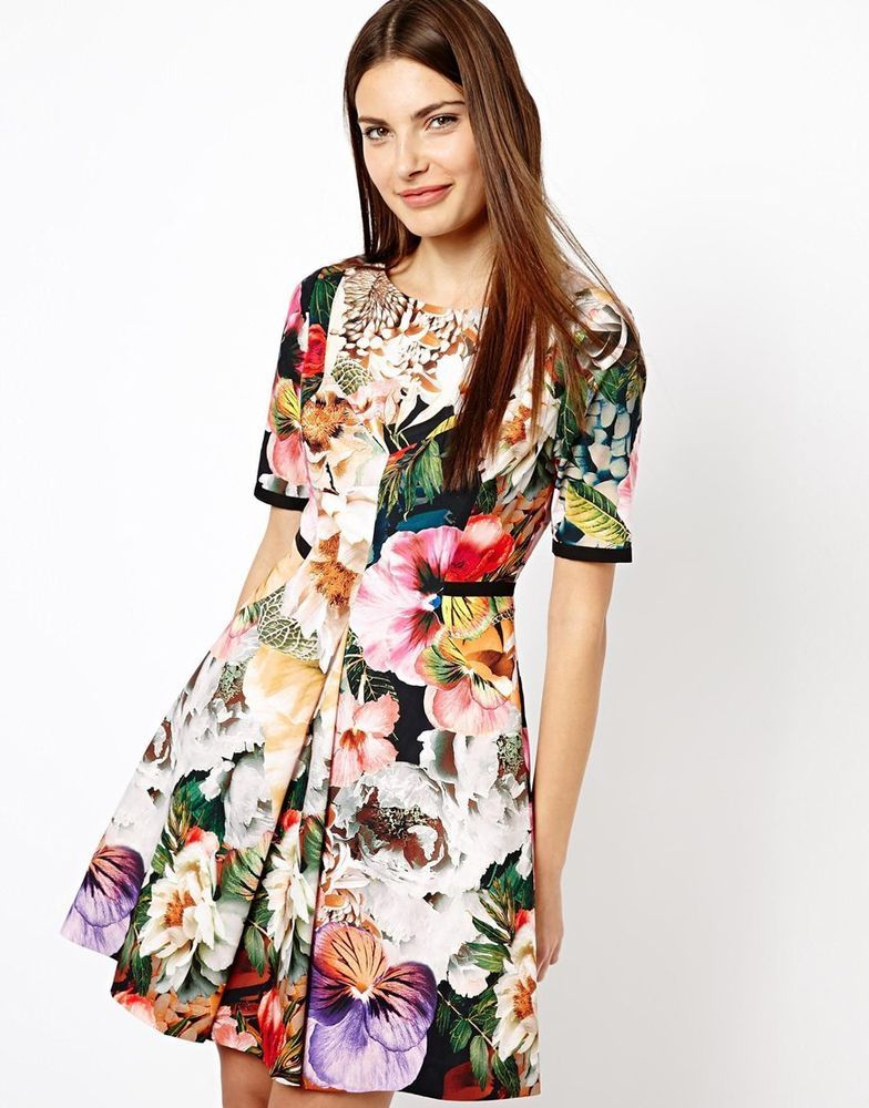 fb915871d3df3 Ted Baker Timliaa Tangled Floral Dress TB 1 2 3 4 Wedding Guest UK 8 ...