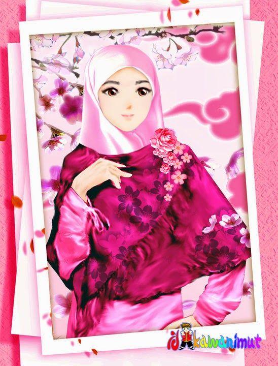 Gambar Kartun Wanita Muslimah Berjilbab Cantik Dan Anggun Muslimah