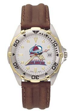 Logoart Colorado Avalanche Men's All-Star Leather Watch Mens Logo Art. $77.85. Silver dial with raised luminous hour indexes with mineral crystal. Two-tone stainless steel bracelet or ribbed leather strap with steel stainless buckle. Miyota quartz movement with date (#377 battery). Water resistant sport watch. Brushed chrome finish brass case, two-tone rotating top ring and screw-down back