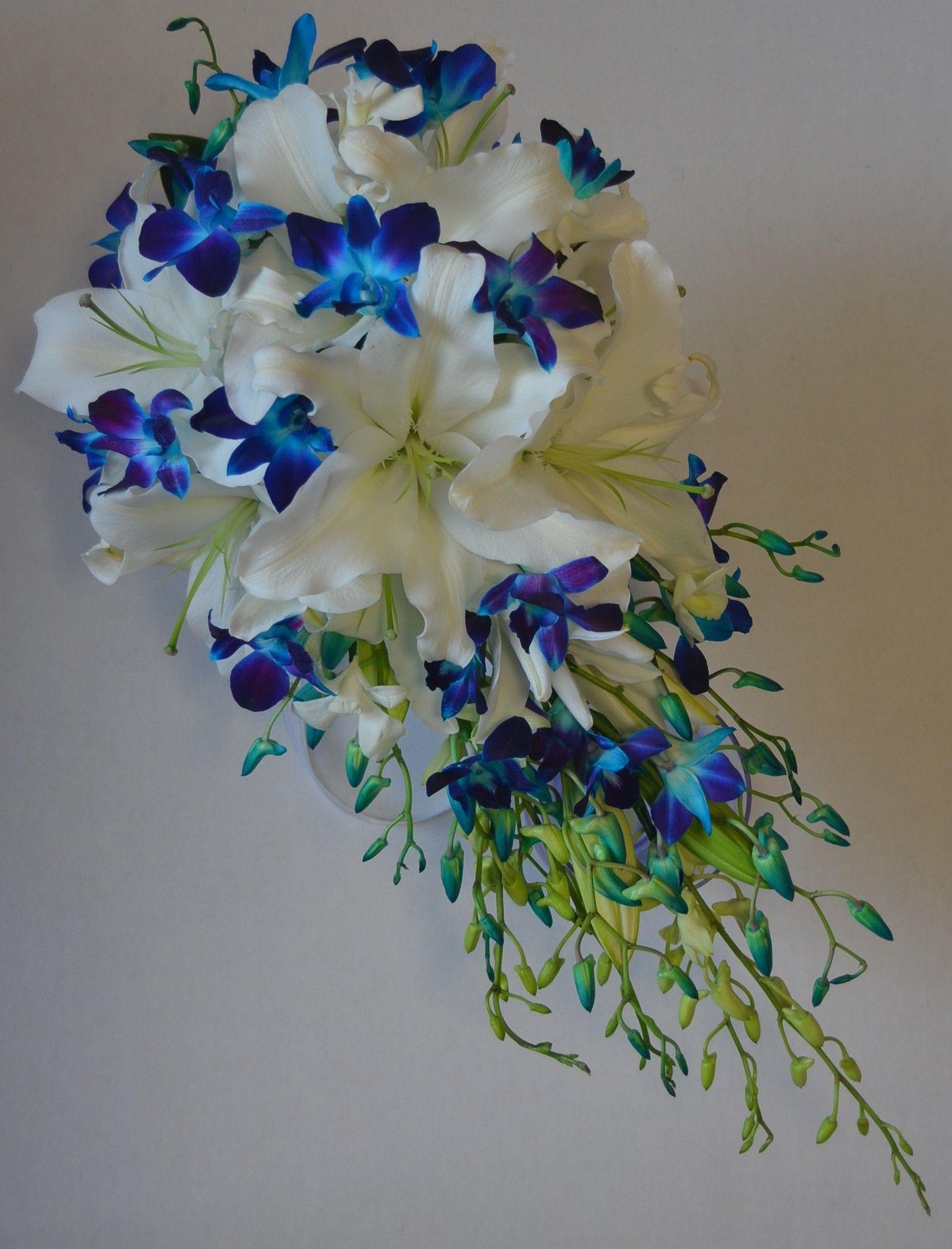 Blue Singapore Orchid White Lily Teardrop Bouquet Blue Orchid Wedding Bridesmaid Flowers Teardrop Bouquet