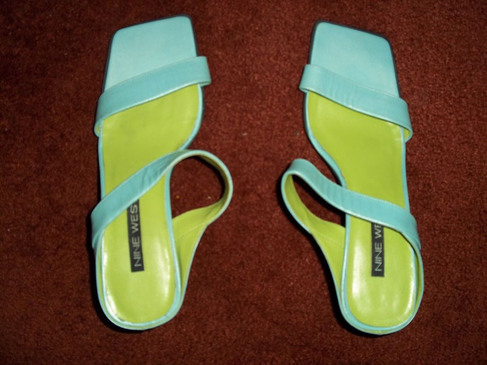Nine West Giam Aqua Slip On Strappy Heels Shoes 7.5M #NineWest #Strappy