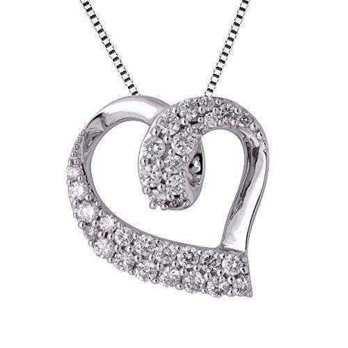 10k white gold heart diamond pendant necklace 063 carat https 10k white gold heart diamond pendant necklace 063 carat https aloadofball Choice Image