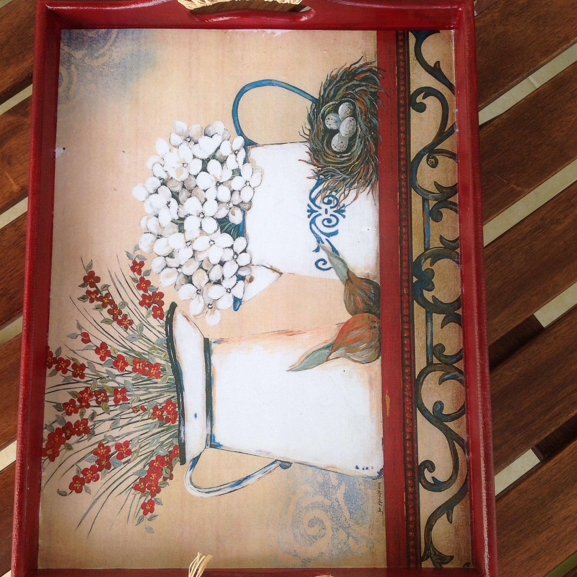 Sevil #ahşapboyama #tepsi #decoupage #handmade